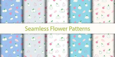 conjunto sem costura padrão floral
