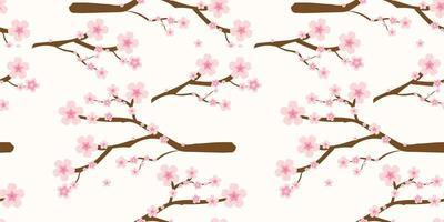 padrão de galhos e flores de cerejeira japonesa