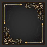 floreio de ouro vintage no quadro de dois cantos vetor