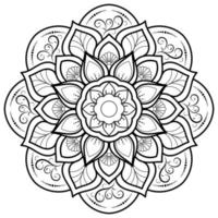 mandala de flor circular em branco vetor