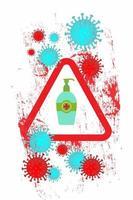 cartaz de coronavírus grunge com desinfetante para as mãos