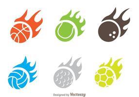 Vetores do ícone da bola de chama