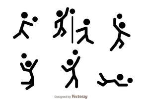 Ícones vetoriais da figura da vara de voleibol vetor