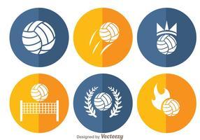 Ícones de círculo de voleibol vetor