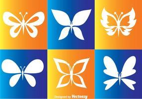 Ícones de vetores de borboletas brancas
