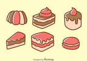 Ícones dos desenhos animados do bolo vetor