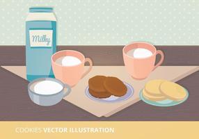 Ilustração do vetor de leite e cookies