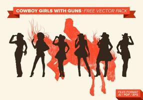 Meninas de cowboy com pistolas silhueta pacote de vetores grátis
