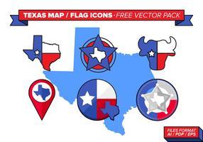 Mapa do Texas e ícones de bandeira Pacote de vetores grátis