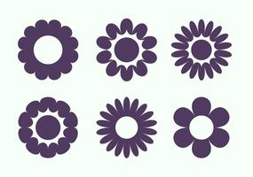 Conjunto simples de formas de flores