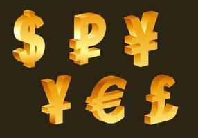 3d símbolos de moeda dourados vetor