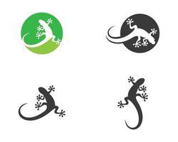conjunto de modelo de logotipo de lagarto vetor