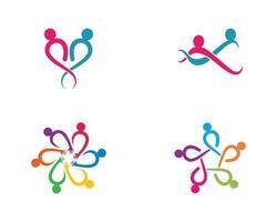 conjunto de modelo de logotipo de pessoas da comunidade vetor