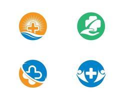 conjunto de modelo de logotipo médico redondo