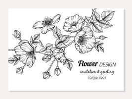 design de cartão com flor rosa selvagem e folhas vetor