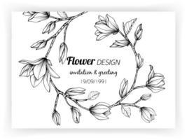 design de cartão com flor de magnólia e folhas vetor