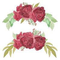 conjunto de arranjo de curva de flor rosa vermelha pintada à mão vetor