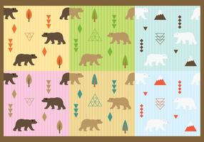 Vetores de padrões de ursos fofos