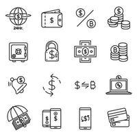 coleção de ícone de linha de investimento e dinheiro vetor
