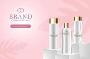 Maquete de banner de beleza de garrafas de cosméticos 3D vetor
