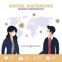cartaz de distanciamento social vetor