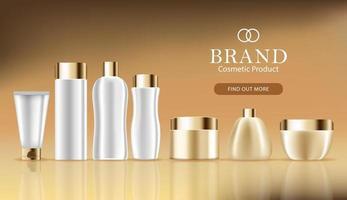 banner de publicidade cosmética com conjunto de garrafa 3d