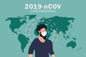 cartaz de coronavirus covid-19 com homem vestindo máscara facial