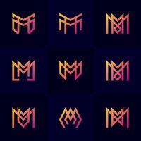 conjunto de gradiente de letra m vetor