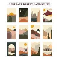 coleção de paisagem plana do deserto vetor
