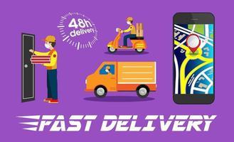 conjunto de elementos de entrega de comida móvel vetor