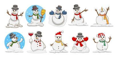 conjunto de desenhos animados de boneco de neve vetor