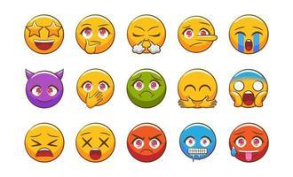 conjunto de emoji colorido vetor