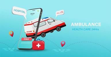 Cartaz de cuidados de saúde 24 horas com ambulância e telefone