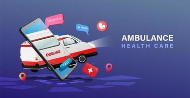 ambulenace flutuante e cartaz de cuidados de saúde de telefone móvel