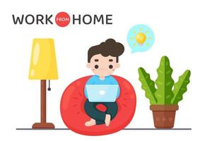 homem na cadeira do saco de feijão, trabalhando em casa