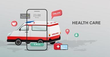 cartaz de cuidados de saúde de ambulância e telefone móvel