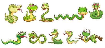 conjunto de desenhos animados de cobra vetor