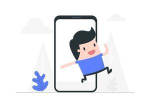homem dos desenhos animados, pulando de smartphone vetor