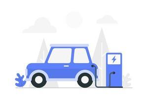 carro elétrico dos desenhos animados que charing na estação de carga vetor