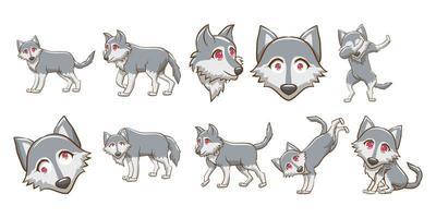 conjunto de estilo kawaii lobo vetor
