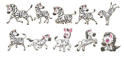 conjunto de desenhos animados de zebra de estilo kawaii vetor