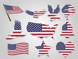 conjunto de formas da bandeira americana vetor