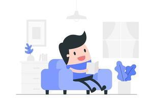 homem dos desenhos animados, lendo em casa vetor