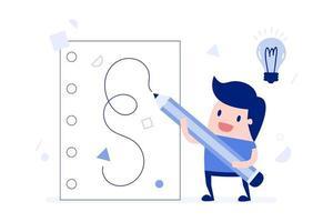 homem de negócios dos desenhos animados, escrevendo idéias vetor