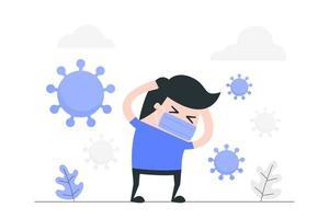 homem mascarado dos desenhos animados, ansioso por coronavírus vetor
