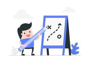 homem dos desenhos animados, planejamento de estratégia de negócios vetor