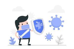 homem dos desenhos animados com espada e escudo contra vírus vetor