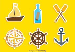 Ícones de cores náuticas vetor