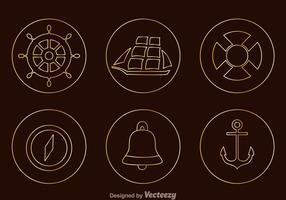 Ícones náuticos de esboço de estanho vetor