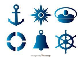 Ícones azuis náuticos vetor
